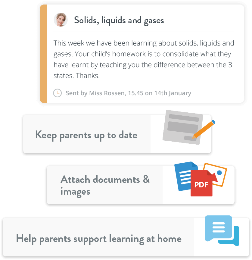 Parent Hub messages example